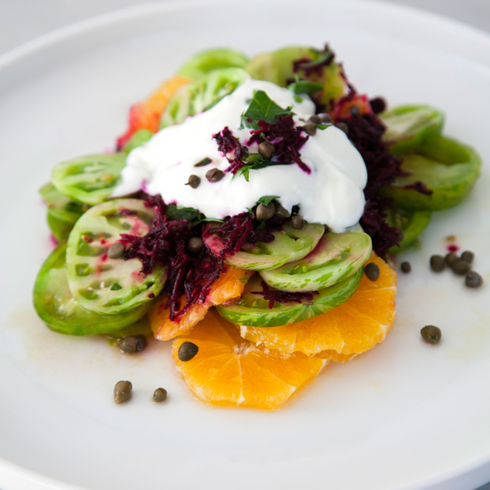 Green Tomato-Citrus Stacks with Beet Stained Yogurt