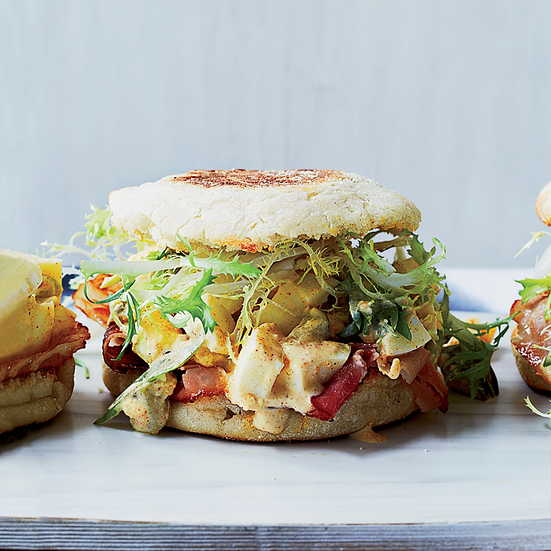 Ham and Deviled Egg Breakfast Sandwiches