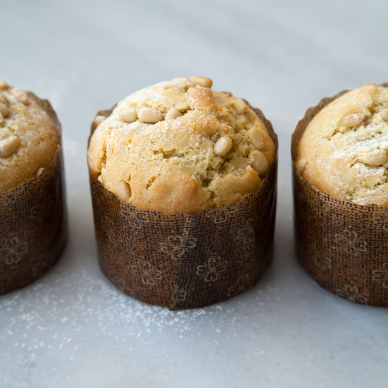 Lemon Olive Oil Muffins with Pine Nuts