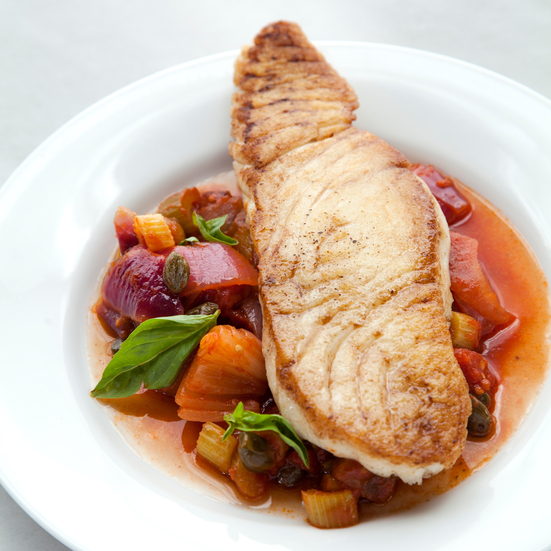 Pan-Fried Halibut with Caponata