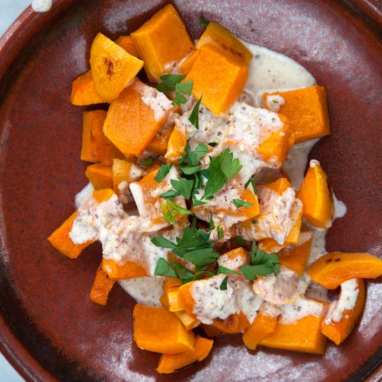 Roasted Butternut Squash with an Almond Mascarpone Sauce