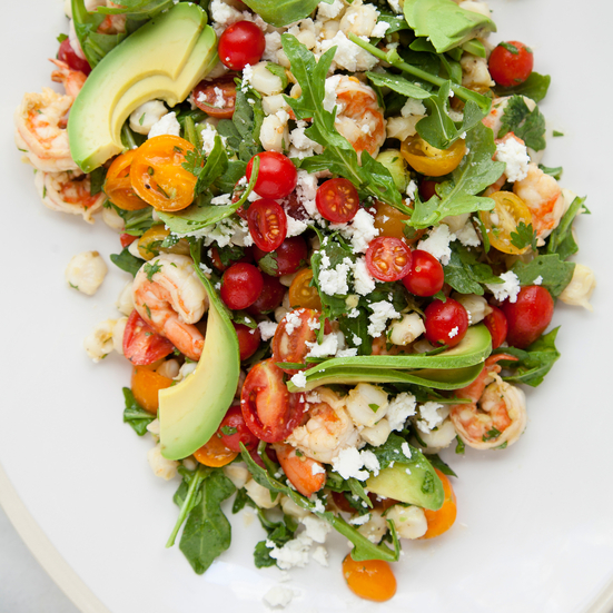Shrimp Salad with Hominy, Arugula, and Lime