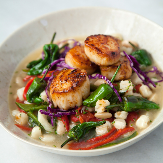 Hominy with Blistered Padron Peppers and Seared Scallops