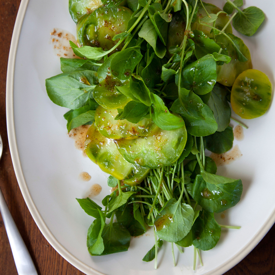 Watercress and Green Tomatoes in Browned Butter