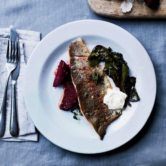 Rainbow Trout with Brown Butter and Salt-Roasted Beets