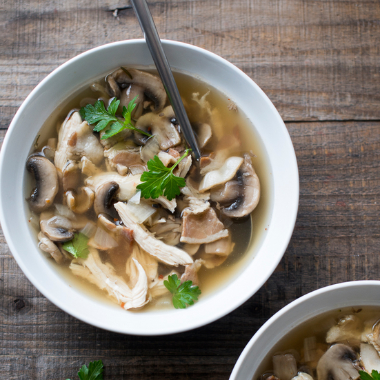 Chicken and Mushroom Soup with Bacon