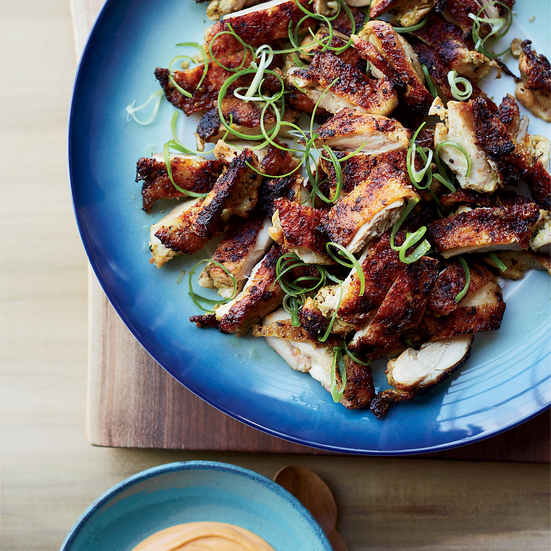 Grilled Chicken Thighs with Spicy Miso Mayo