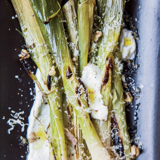 Roasted Leeks with Yogurt and Shaved Toasted Walnuts