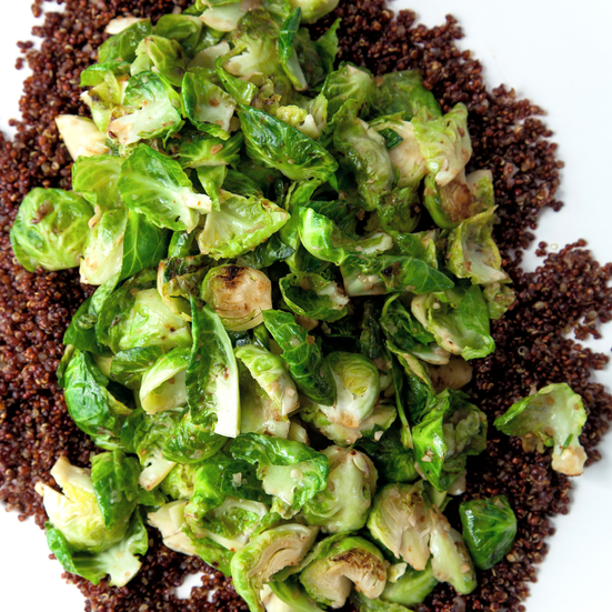 Anchovy Butter Brussels Sprouts with Toasted Quinoa Recipe ...