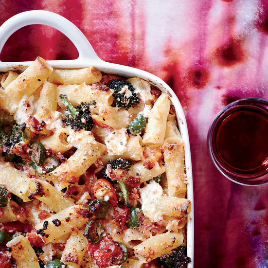 Baked Rigatoni with Broccoli, Green Olives and Pancetta