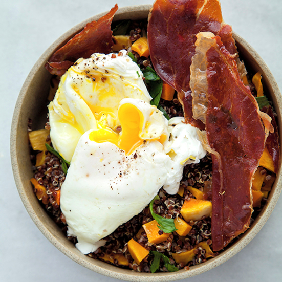 Black Quinoa with Butternut Squash, Poached Eggs, and Crispy Pancetta
