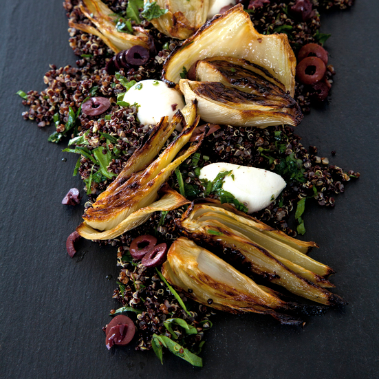 Caramelized Fennel and Black Quinoa Salad with Mozzarella, Black Olives, and Basil