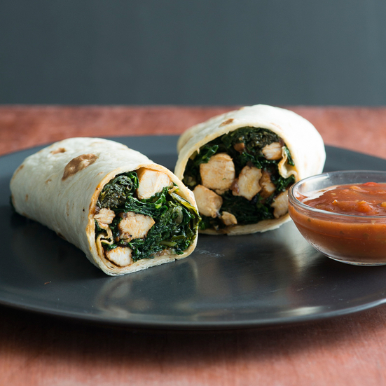 Chicken Burrito with Sautéed Kale