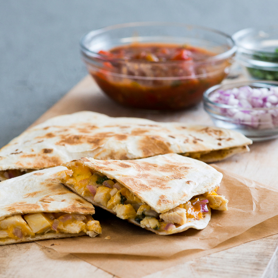 Chicken Quesadillas with Red Onions
