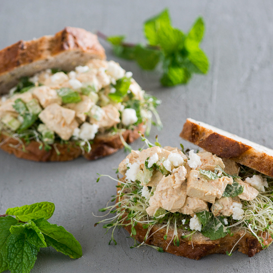 Chicken Salad Sandwich with Feta and Mint
