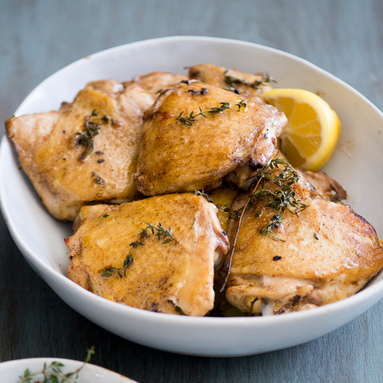 Lemon and Thyme Baked Chicken Thighs