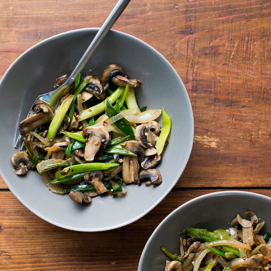Mushroom and Green Onion Stir-Fry