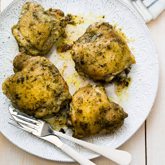 Pesto Baked Chicken Thighs