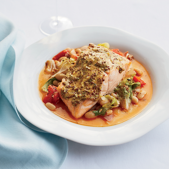 Mustard Salmon with Cannellini Bean Ragù