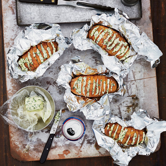Grill-Baked Potatoes with Chive Butter Recipe - Tom Mylan | Food ...
