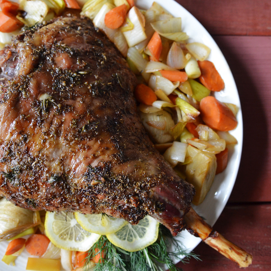 Roast Leg of Lamb with Lemony Dill Sauce