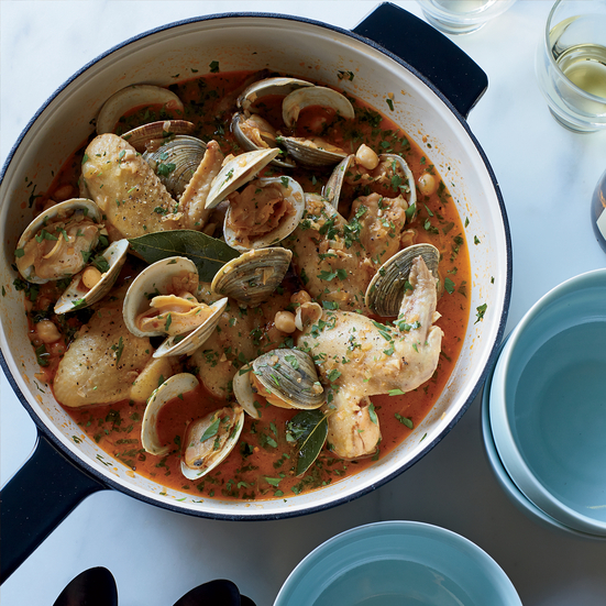 Beer-Braised Chicken Wings with Clams and Chickpeas