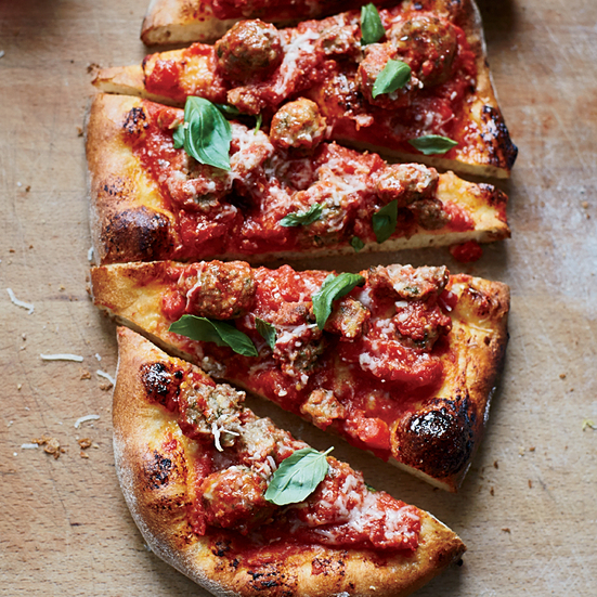 Pizza with Baked Meatballs