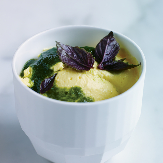 Preserved-Lemon Pudding with Basil Syrup