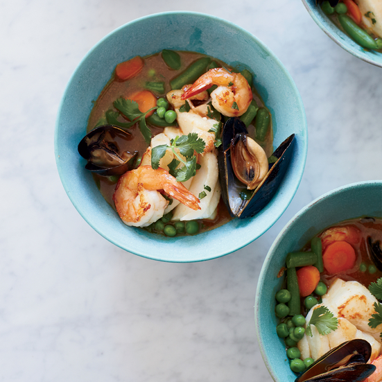 Red Coconut Curry with Seafood and Mixed Vegetables