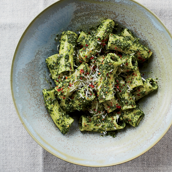 Rigatoni with Lemony Kale-and-Pecorino Pesto