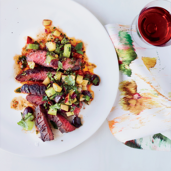 Grilled Skirt Steak with Fruit-and-Green-Tomato Salsa