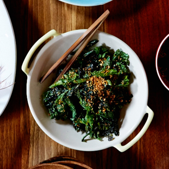 Sautéed Mustard Greens with Crispy Garlic and Ginger