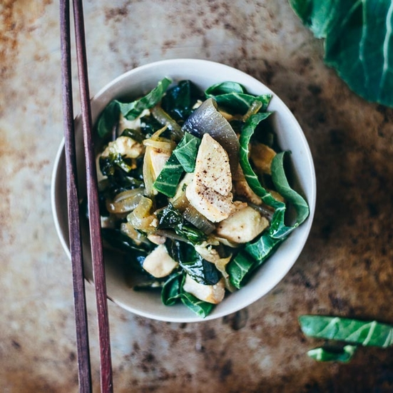 Chicken Stir-Fry with Collard Greens
