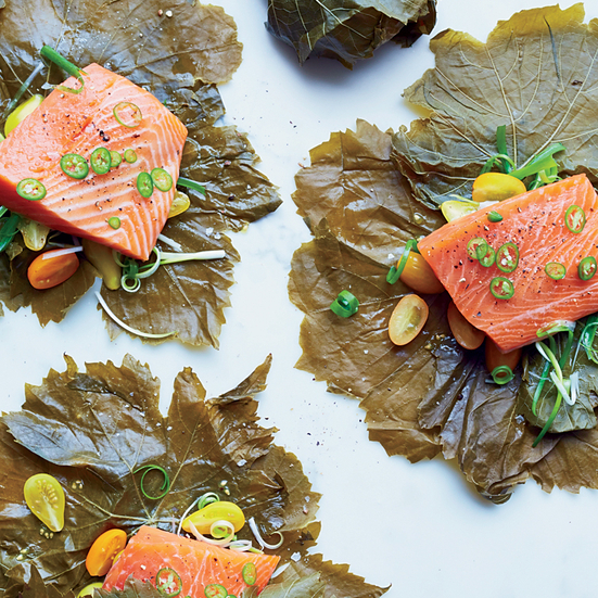 Grape Leaf-Wrapped Salmon with Serrano-Scallion Sauce