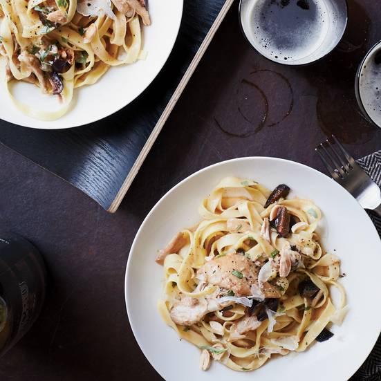 Tagliatelle with Braised Chicken and Figs