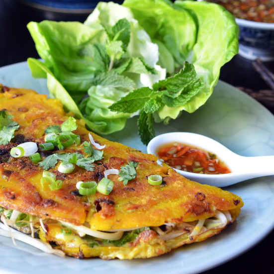 Vietnamese Oyster Pancake with Nuoc Cham