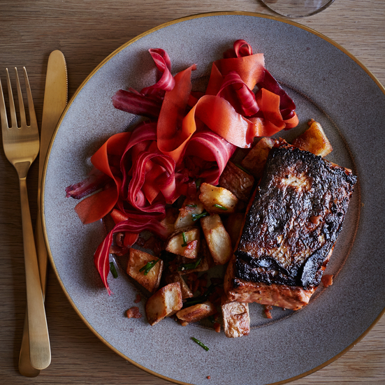 Salmon with Pickled Carrots and Bacon-Fried Potatoes