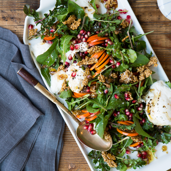 Persimmon-and-Burrata Salad with Sesame Candy