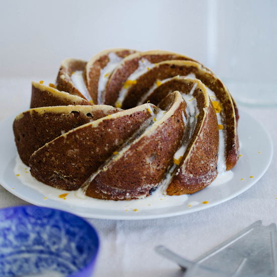 Rum and Raisin Bundt with Orange Glaze