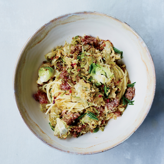 Spaghetti with Brussels Sprouts and Sausage Breadcrumb Topping