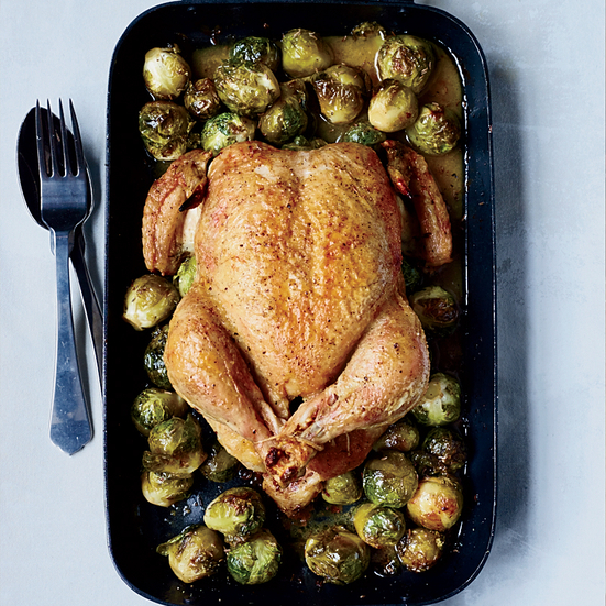 Whole Roast Chicken with 40 Brussels Sprouts