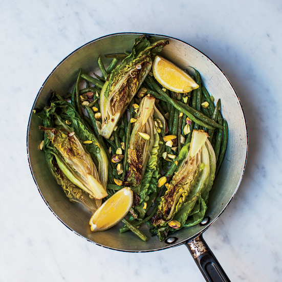 Warm Green Beans and Lettuce in Anchovy Butter