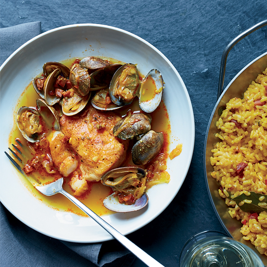 Hake, Clams and Chorizo in Broth with Paella Rice