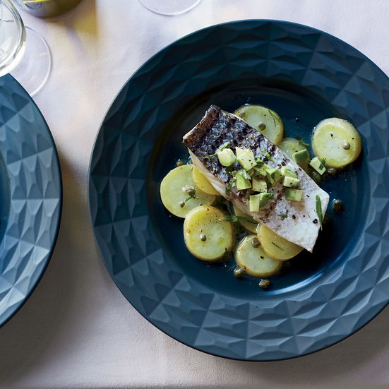 Steamed Sea Bass with Potatoes and Avocado-Tarragon Salsa