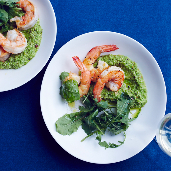 Pan-Fried Shrimp with Lemony Pea Pesto
