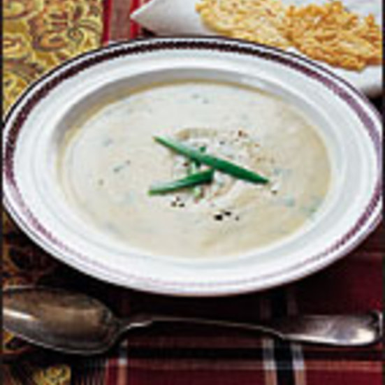 Creamy Turnip Soup with Cheese Crisps