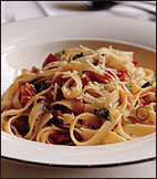 Fettuccine with Quick Tomato Sauce and Hot Chili Oil