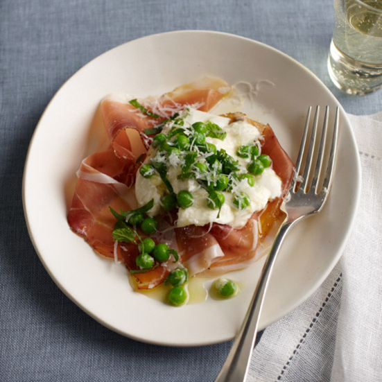 Burrata with Speck, Peas and Mint