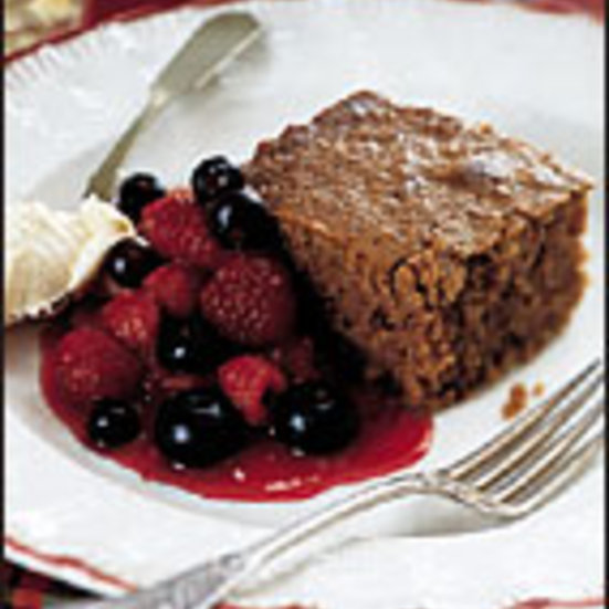 Oat Cake with Warm Mixed-Berry Compote