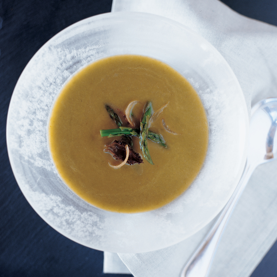 Asparagus Soup with Roasted Shallots and Morels